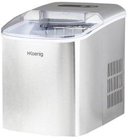H.Koenig KB14 Eiswürfelmaschine / Eismaschine / 12kg Eiswürfel / Produktionszeit 6 - 13 Minuten / 2 Eiswürfel-Größen / ohne Wasseranschluss / 150 W / Edelstahl / silber - 1