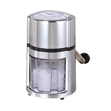 axentia Ice-Crusher Rondo in Silber, rostfreier Edelstahl-Eiscrusher mit verchromtem Gehäuse, Eiszerkleinerer inklusive Eisbehälter und Schaufel, Maße: ca. 16 x 16 x 26 cm - 1