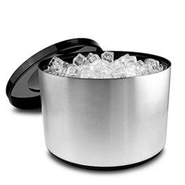 Eiswürfelbehälter mit Deckel, 10 Liter Kühler Runde Eiskübel Eiseimer - gebürstetem Aluminium - 1