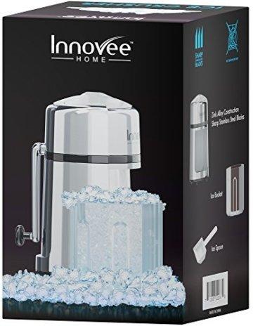 Innovee manueller Eiszerkleinerer mit rostfreier Zink–Carbon Konstruktion 430Klinge zerkleinert Eis zur gewünschten Feinheit–rutschfest–Einfache Handhabung Eiszerkleinerer Handkurbel–verchromt. - 5