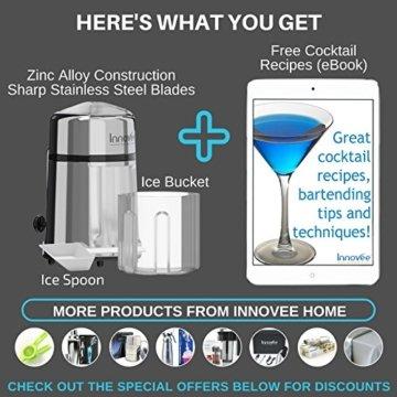 Innovee manueller Eiszerkleinerer mit rostfreier Zink–Carbon Konstruktion 430Klinge zerkleinert Eis zur gewünschten Feinheit–rutschfest–Einfache Handhabung Eiszerkleinerer Handkurbel–verchromt. - 6
