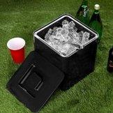 Quadratischer Eiswürfelbehälter Schwarz fasst 10 Liter – Eiswürfelbehälter aus doppelwandigem Kunststoff - 1