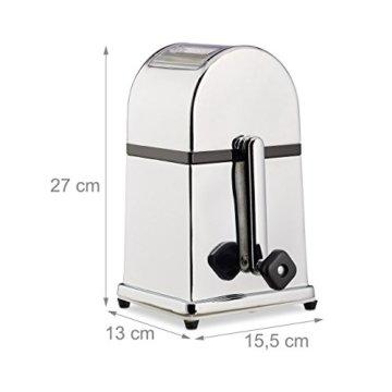 Relaxdays Eiscrusher Maschine mit Eisschaufel, manueller Ice Crusher, Metall Eiszerkleinerer, 27 x 15,5 x 13 cm, silber - 2