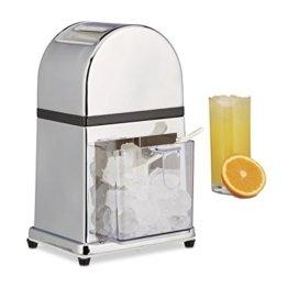 Relaxdays Eiscrusher Maschine mit Eisschaufel, manueller Ice Crusher, Metall Eiszerkleinerer, 27 x 15,5 x 13 cm, silber - 1