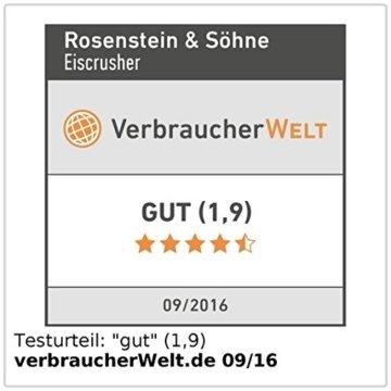 Rosenstein & Söhne Ice Crusher: Stromloser Eiscrusher mit Edelstahl-Mahlwerk und Handkurbel (Eiscrasher) - 3