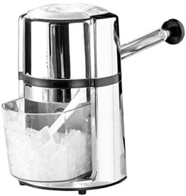Rosenstein & Söhne Ice Crusher: Stromloser Eiscrusher mit Karbonstahl-Klinge & Handkurbel, Chrome-Look (Ice Crasher) - 1