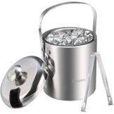 Sailnovo Eiseimer mit Zange und Deckel Eisbehälter sektkühler Edelstahl Eiseimer Eisbehälter mit Zange und Deckel ,Eiseimer mit Doppelwand-Isolierung für besonders lange Kühlung ,Weinkühle Sektkühler Edelstahl Doppelwandiger 1.2 Liter - 1