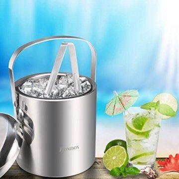 Sailnovo Eiseimer mit Zange und Deckel Eisbehälter sektkühler Edelstahl Eiseimer Eisbehälter mit Zange und Deckel ,Eiseimer mit Doppelwand-Isolierung für besonders lange Kühlung ,Weinkühle Sektkühler Edelstahl Doppelwandiger 1.2 Liter - 8