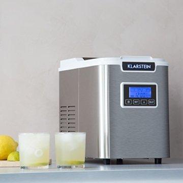 Klarstein Icemeister Eiswürfelmaschine Eiswürfelbereiter Ice Maker 12kg/24h 3 Würfelgrößen Selbstreinigungsprogramm LCD-Display LED-Beleuchtung Timer Edelstahl weiß - 2