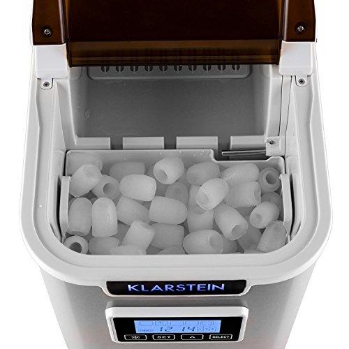 Klarstein Icemeister Eiswürfelmaschine Eiswürfelbereiter Ice Maker 12kg/24h 3 Würfelgrößen Selbstreinigungsprogramm LCD-Display LED-Beleuchtung Timer Edelstahl weiß - 4