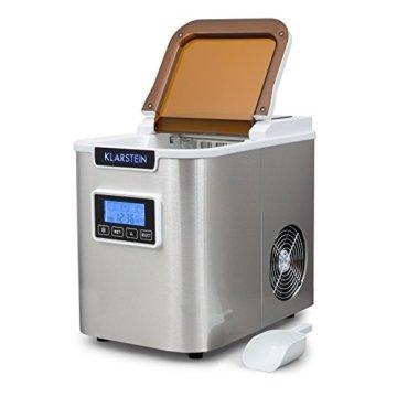 Klarstein Icemeister Eiswürfelmaschine Eiswürfelbereiter Ice Maker 12kg/24h 3 Würfelgrößen Selbstreinigungsprogramm LCD-Display LED-Beleuchtung Timer Edelstahl weiß - 7
